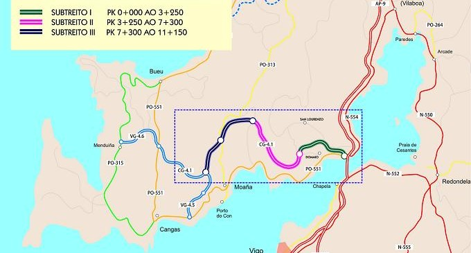 Adjudicada la redacción del proyecto de construcción para desdoblar el corredor de O Morrazo por más de 330.000 euros