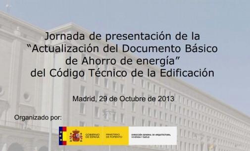 """Jornada de presentación de la """"Actualización del Documento Básico de Ahorro de energía"""" del CTE"""
