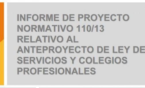 La CNMC publica su informe sobre el Anteproyecto de Ley de Servicios y  Colegios Profesionales