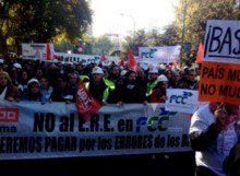 Huelga Indefinida por el ERE de FCC Construcción en Madrid