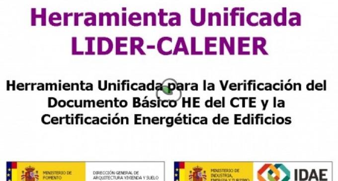 Nueva versión de la Herramienta unificada LIDER-CALENER